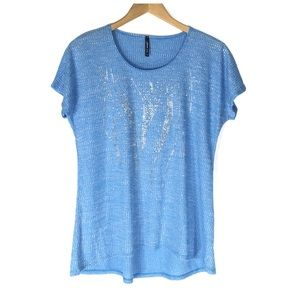 Tops - 🆑 Blue Ribbed Tee with Silver Sequins Size Large